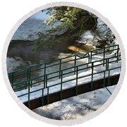 Bridge Over Frozen River Round Beach Towel