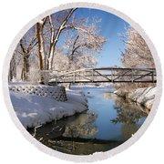 Bridge Over Icy Water Round Beach Towel