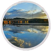 Bridge Over Lake At Sunset Narrabeen Lakes Sydney Round Beach Towel