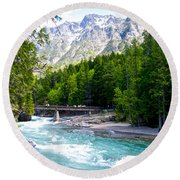 Bridge Over Mcdonald Creek In Glacier Np-mt Round Beach Towel