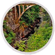 Bridge Over North Harbour River-nl Round Beach Towel