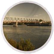 Bridge Over Rhein River Round Beach Towel