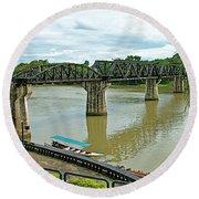 Bridge Over River Kwai In Kanchanaburi-thailand Round Beach Towel