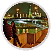 Bridge Over River Near The Kremlin At Night In Moscow-russia Round Beach Towel