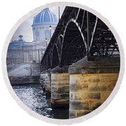 Bridge Over Seine In Paris Round Beach Towel