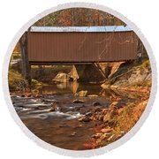 Bridge Over Smith River Round Beach Towel