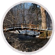 Bridge Over Snowy Valley Creek Round Beach Towel