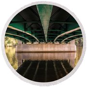 Bridge Over The Connecticut River Round Beach Towel
