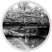 Bridge Over The Delaware Canal At Washington's Crossing Round Beach Towel