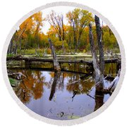 Bridge Over The Pond Round Beach Towel