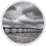 Bridge Over Water Round Beach Towel