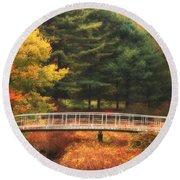 Bridge To Autumn Round Beach Towel