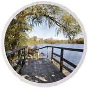 Bridge To Beyond Round Beach Towel