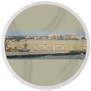 Bridge To Crystal Cay Round Beach Towel