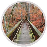 Bridge To Fall Round Beach Towel