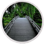Bridge To Japanese Serenity Round Beach Towel