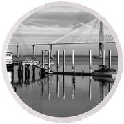 Bridge To Mount Pleasant - Black And White Round Beach Towel