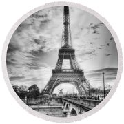Bridge To The Eiffel Tower Round Beach Towel by John Wadleigh