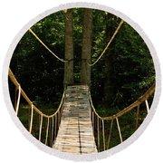 Bridge To The Forest Round Beach Towel