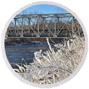 Bridge To Winter Round Beach Towel