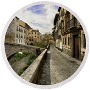 Bridges At Darro Street In Historic Albaycin In Granada Round Beach Towel