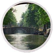 Bridges In Amsterdam Round Beach Towel