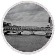 Bridges In Paris Round Beach Towel