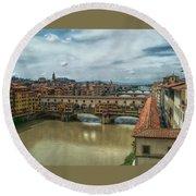 Bridges Of Florence Round Beach Towel