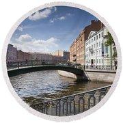 Bridges Of St. Petersburg Round Beach Towel