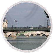 Bridges Over The Seine And Conciergerie - Paris Round Beach Towel
