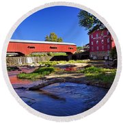 Bridgeton Covered Bridge 4 Round Beach Towel by Marty Koch