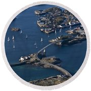 Bridging The Ocean Round Beach Towel
