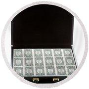 Briefcase Full Of Money Round Beach Towel