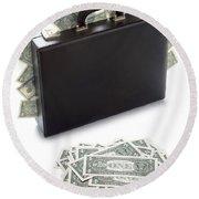 Briefcase Stuffed With Dollar Bills Round Beach Towel