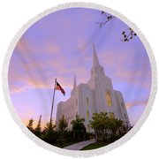 Brigham City Temple I Round Beach Towel