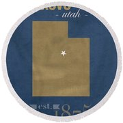 Brigham Young University Cougars Provo Utah College Town State Map Poster Series No 023 Round Beach Towel