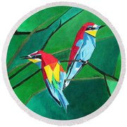 Brighly Colored European Bee-eaters Round Beach Towel