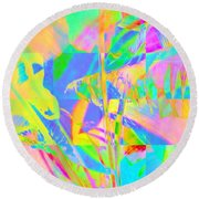 Bright Abstracted Banana Leaf - Square Round Beach Towel