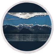 Bright And Cloudy Round Beach Towel