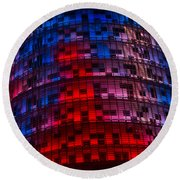 Bright Blue Red And Pink Illumination - Agbar Tower Barcelona Round Beach Towel