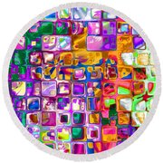 Bright Boxes I Round Beach Towel