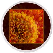 Bright Budding And Golden Abstract Flower Painting Round Beach Towel