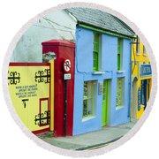 Bright Buildings In Ireland Round Beach Towel