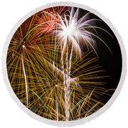 Bright Bursts Of Fireworks Round Beach Towel