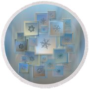 Snowflake Collage - Bright Crystals 2012-2014 Round Beach Towel by Alexey Kljatov