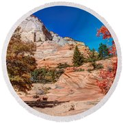 Bright Fall Colors At Zion Round Beach Towel