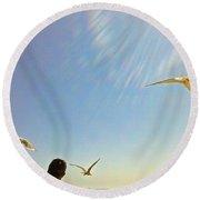 Bright Gulls Round Beach Towel