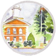 Bright Morning At The Courthouse Round Beach Towel