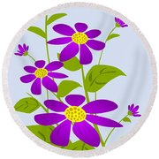 Bright Purple Round Beach Towel