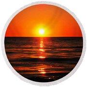 Bright Skies - Sunset Art By Sharon Cummings Round Beach Towel